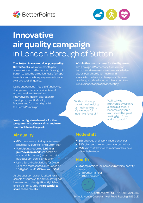 Innovative air quality campaign in London Borough of Sutton